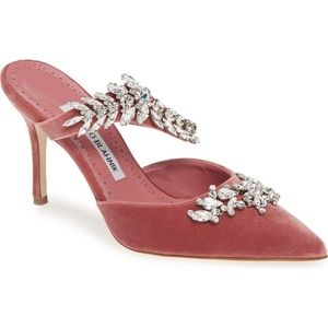 NEW MANOLO BLAHNIK Lurum Jewel Leaf Mule